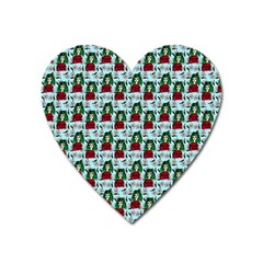 Girl With Green Hair Pattern Blue Floral Heart Magnet