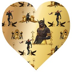 Anubis The Egyptian God Pattern Wooden Puzzle Heart
