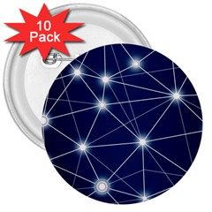 Network Technology Digital 3  Buttons (10 Pack)  by HermanTelo