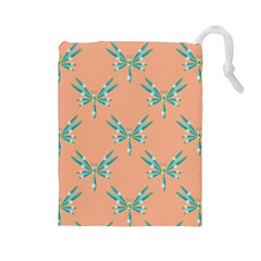 Turquoise Dragonfly Insect Paper Drawstring Pouch (large)
