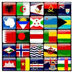 National Flags 1 Wooden Puzzle Square