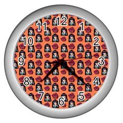 Girl Flower Pattern Apricot Wall Clock (silver) by snowwhitegirl