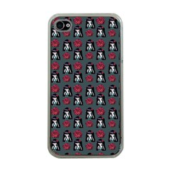 Girl Flower Pattern Grey Iphone 4 Case (clear) by snowwhitegirl
