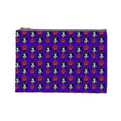 Girl Flower Pattern Royal Blue Cosmetic Bag (large)