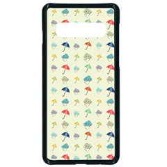 Clouds And Umbrellas Seasons Pattern Samsung Galaxy S10 Seamless Case(black)