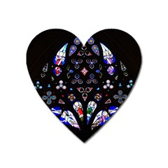 Barcelona Cathedral Spain Stained Glass Heart Magnet by Wegoenart