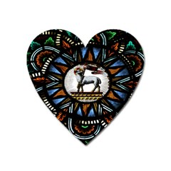 Spain Catalonia Montserrat Church  Stained Glass Heart Magnet by Wegoenart