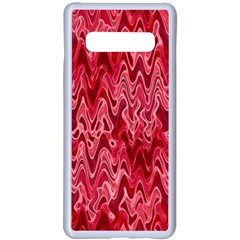 Background Abstract Surface Red Samsung Galaxy S10 Plus Seamless Case(white)