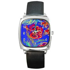 Poppies Square Metal Watch