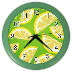Lemon Fruit Healthy Fruits Food Color Wall Clock by Wegoenart