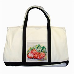 Strawberry Watercolor Figure Two Tone Tote Bag by Wegoenart