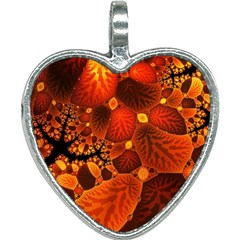 Leaf Autumn Nature Background Heart Necklace