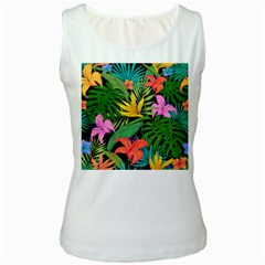 Tropical Greens Women s White Tank Top by Sobalvarro
