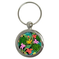 Tropical Greens Key Chain (round) by Sobalvarro