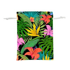 Tropical Greens Lightweight Drawstring Pouch (l) by Sobalvarro