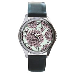Flowers Round Metal Watch by Sobalvarro