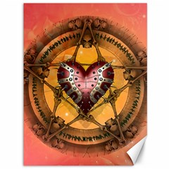 Awesome Heart On A Pentagram With Skulls Canvas 36  X 48  by FantasyWorld7