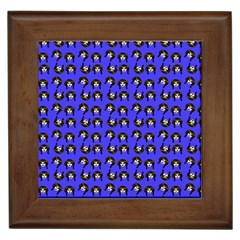Retro Girl Daisy Chain Pattern Blue Framed Tile