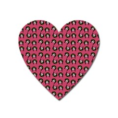 Retro Girl Daisy Chain Pattern Pink Heart Magnet by snowwhitegirl