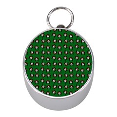 Retro Girl Daisy Chain Pattern Green Mini Silver Compasses