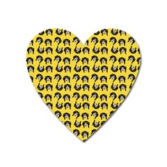 Retro Girl Daisy Chain Pattern Yellow Heart Magnet by snowwhitegirl