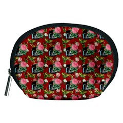 Vintage Can Floral Red Accessory Pouch (medium)