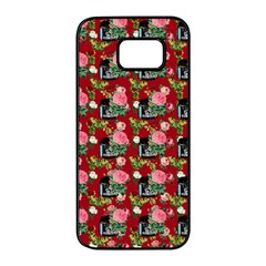 Vintage Can Floral Red Samsung Galaxy S7 Edge Black Seamless Case