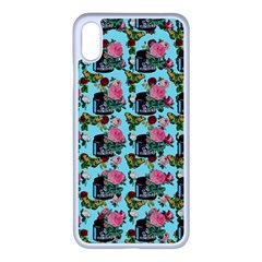 Vintage Can Floral Light Blue Iphone Xs Max Seamless Case (white) by snowwhitegirl