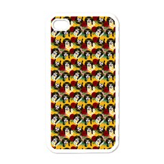 Vintage Hippie Girl Pattern Yellow Iphone 4 Case (white) by snowwhitegirl