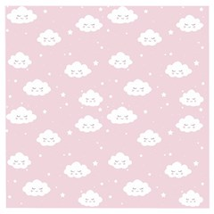 Kawaii Cloud Pattern Wooden Puzzle Square by Valentinaart