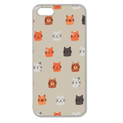 Cat Faces Pattern Apple Seamless Iphone 5 Case (clear)