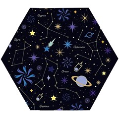 Starry Night  Space Constellations  Stars  Galaxy  Universe Graphic  Illustration Wooden Puzzle Hexagon