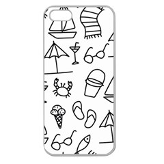 Black And White Summer Vector Pattern Apple Seamless Iphone 5 Case (clear)