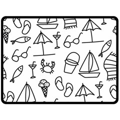 Black And White Summer Vector Pattern Double Sided Fleece Blanket (large)