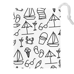 Black And White Summer Vector Pattern Drawstring Pouch (4xl) by Vaneshart
