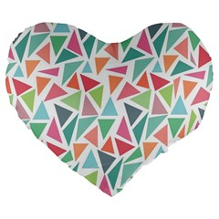 Colorful Triangle Vector Pattern Large 19  Premium Heart Shape Cushions