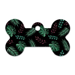 Tropical Leaves Pattern Dog Tag Bone (two Sides) by Vaneshart