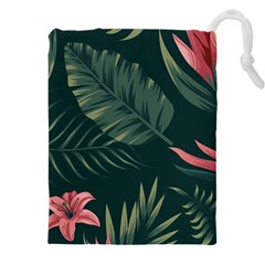 Tropical Flowers Pattern Tekstura Fon Background Pattern Drawstring Pouch (4xl) by Vaneshart