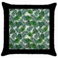 Leaves Tropical Wallpaper Foliage Throw Pillow Case (black) by Vaneshart