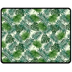 Leaves Tropical Wallpaper Foliage Double Sided Fleece Blanket (medium)  by Vaneshart