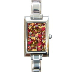 Floral Pattern Design Rectangle Italian Charm Watch by Vaneshart