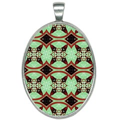 Christmas Pattern Oval Necklace by Vaneshart
