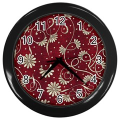 Floral Pattern Background Wall Clock (black)