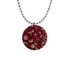 Floral Pattern Background 1  Button Necklace