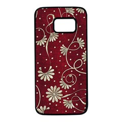 Floral Pattern Background Samsung Galaxy S7 Black Seamless Case