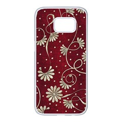 Floral Pattern Background Samsung Galaxy S7 Edge White Seamless Case