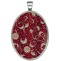 Floral Pattern Background Oval Necklace