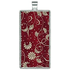 Floral Pattern Background Rectangle Necklace