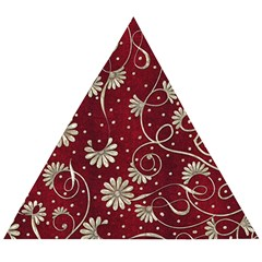 Floral Pattern Background Wooden Puzzle Triangle