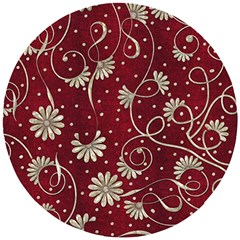Floral Pattern Background Wooden Puzzle Round